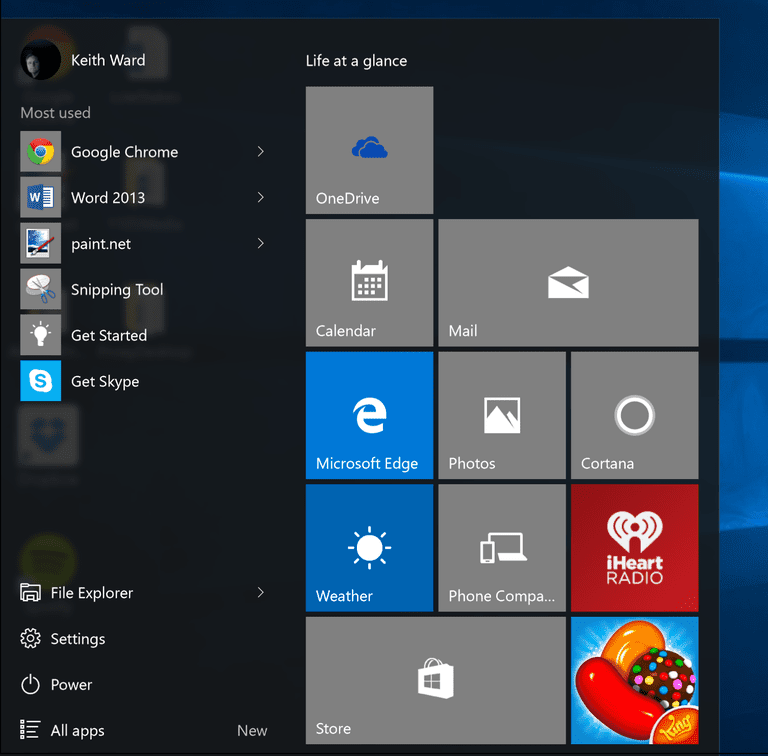 The Windows 10 Start menu.