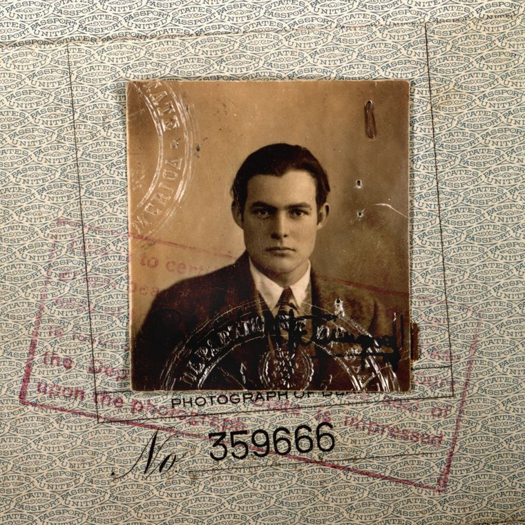 Ernest Hemingway as a young man in his passport photo.