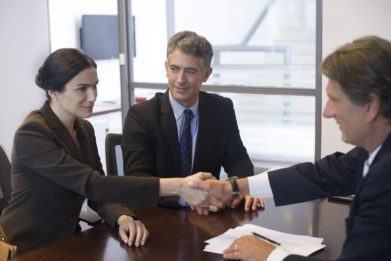 Business meeting, businesswoman shaking hands with associate