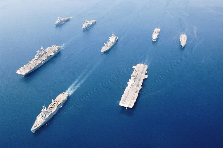 Fleet of military ships at sea in Arabian Gulf, May 2003