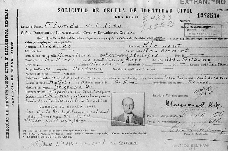 Adolf Eichmann's identity card