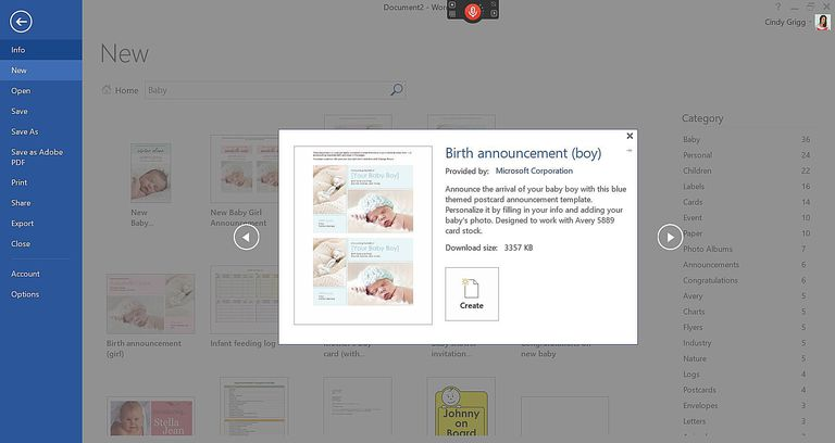 Microsoft's Best Baby Templates and Printables