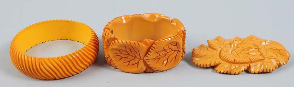 Butterscotch Carved Bakelite - Two Bracelets and One Brooch