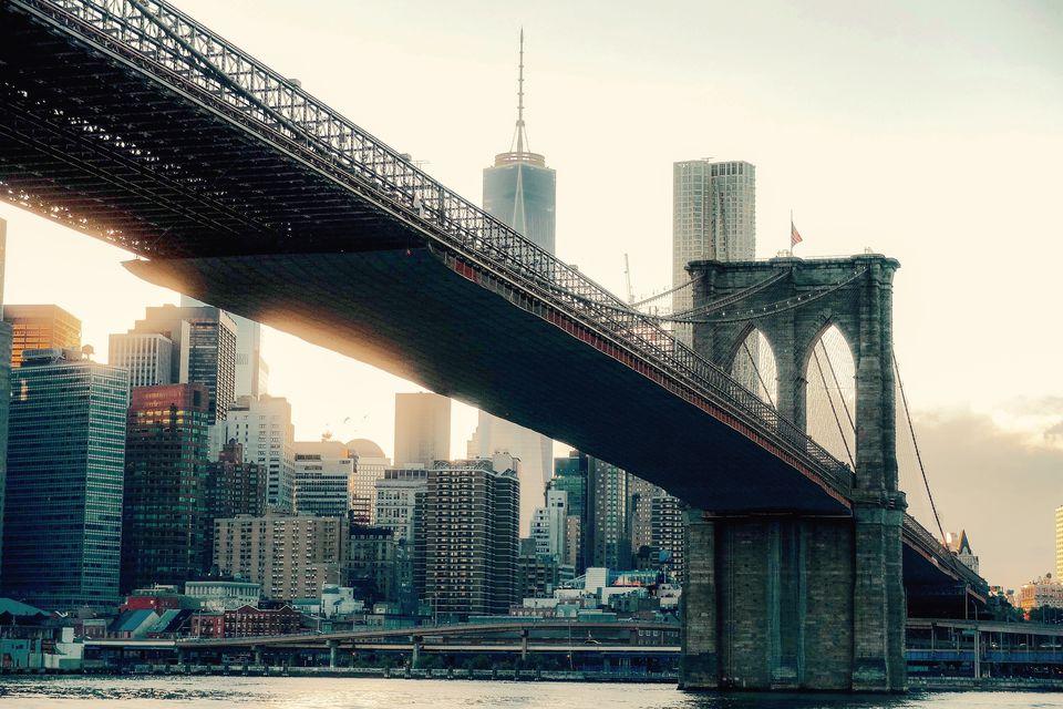 Brooklyn Bridge Against Skyscrapers
