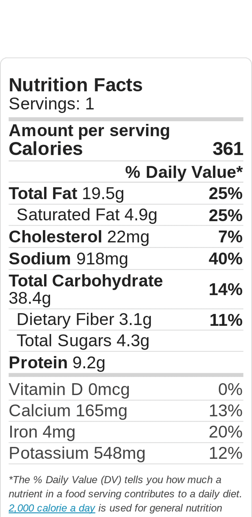 The Glamorous Mak Fish Taco Nutritional Data