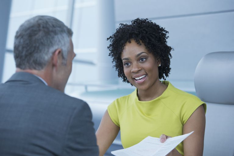 Young woman interviewing for a nonprofit job.