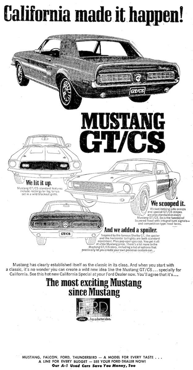 history of the california special mustang gt cs