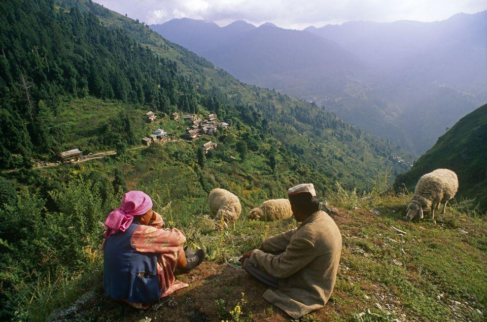 Himachal Pradesh, Kinnaur, Sarahan. Kinnauri villager from Chanash village.