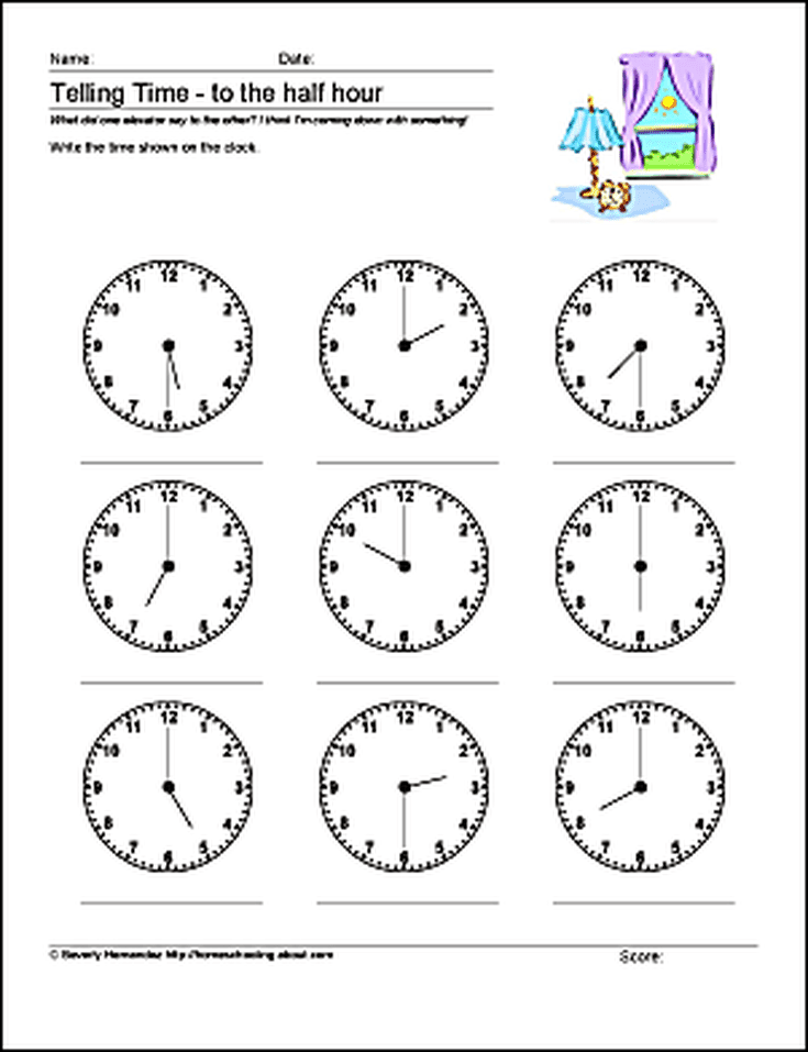 Math Worksheets - Telling Time to the Half Hour
