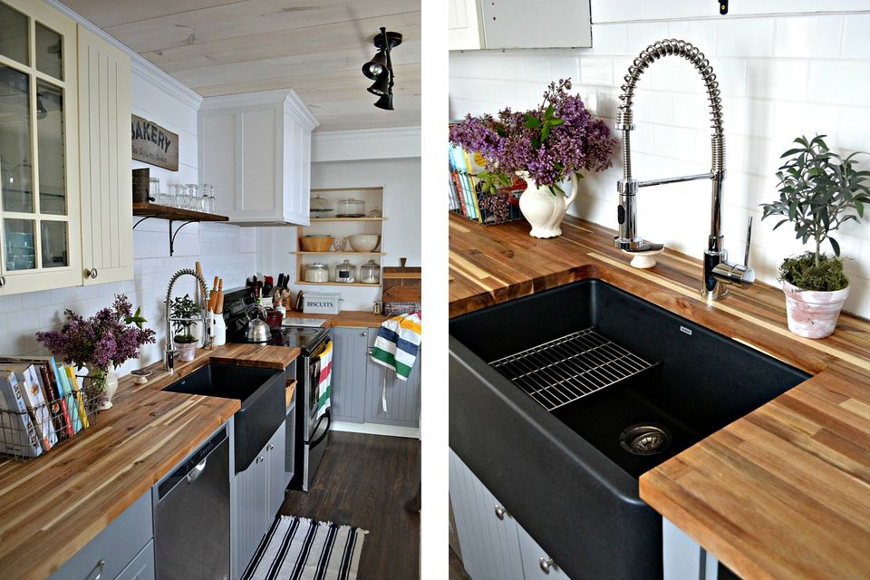 black sink modern farmhouse kitchen - Modern Farmhouse Kitchen