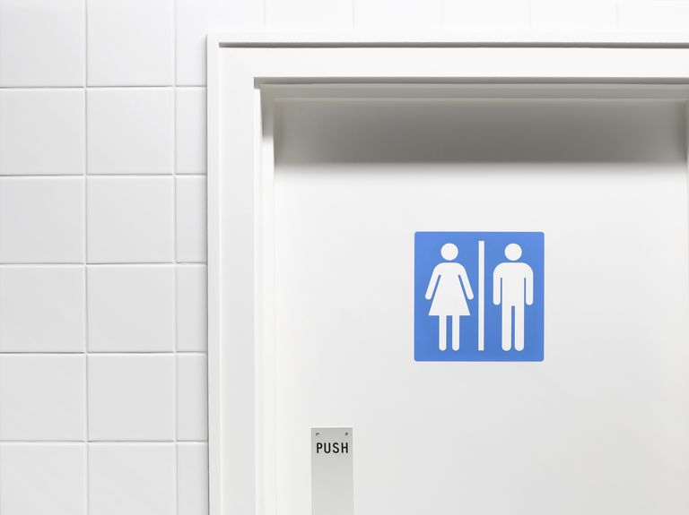 Female and male sign on toilet door, close-up