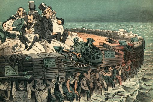 Political cartoon depicting 19th century robber barons.