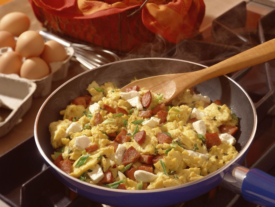 Breakfast Skillet Recipe With Kielbasa Potatoes Onion And Eggs