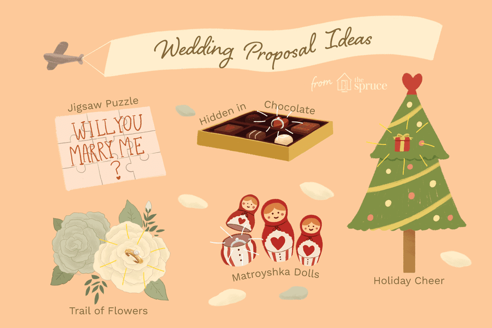 Illustration of unique wedding proposal ideas