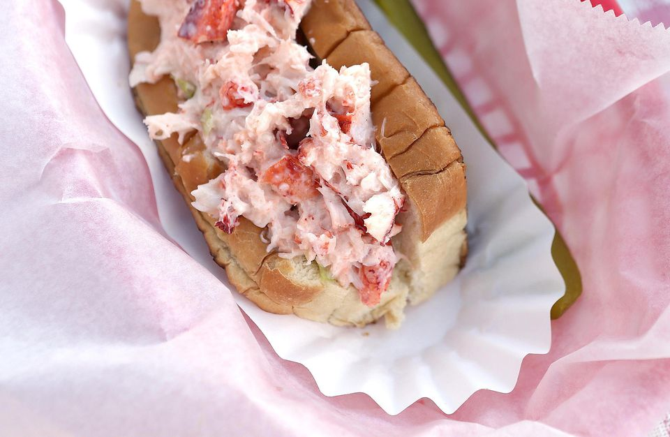 A lobster roll is seen at Benny's Famous Fried Clams on July 21, 2012 in Portland, Maine.