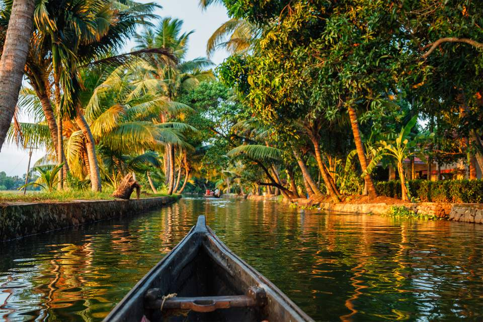 Canoeing along the Kerala backwaters.