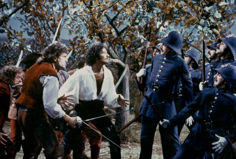 Actors Kevin Kline, Rex Smith and Tony Azito in a fight scene from the film 'The Pirates of Penzance', based on the Gilbert and Sullivan operetta, The Pirates of Pinzance (1983).