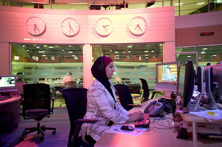 The broadcast room of Al Jazeera English Language Channel, Doha, Qatar.