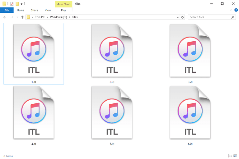 Screenshot of several ITL files in Windows 10 that open with iTunes