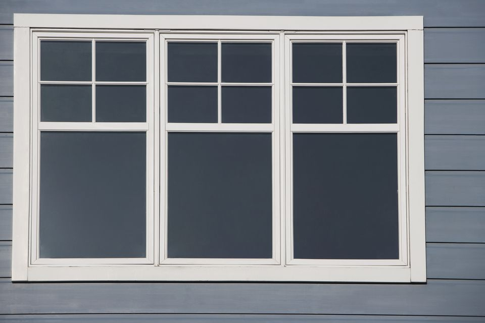 Close-up of the closed window of a building