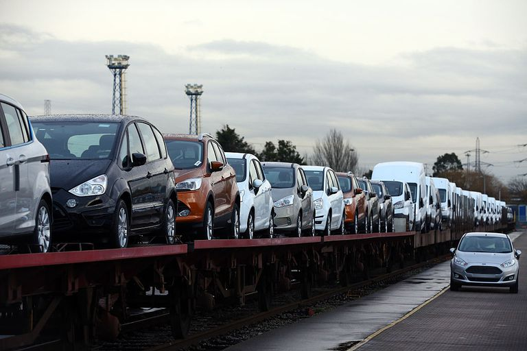 Cars are loaded onto a freight train at a Ford factory on January 13, 2015 in Dagenham, England.