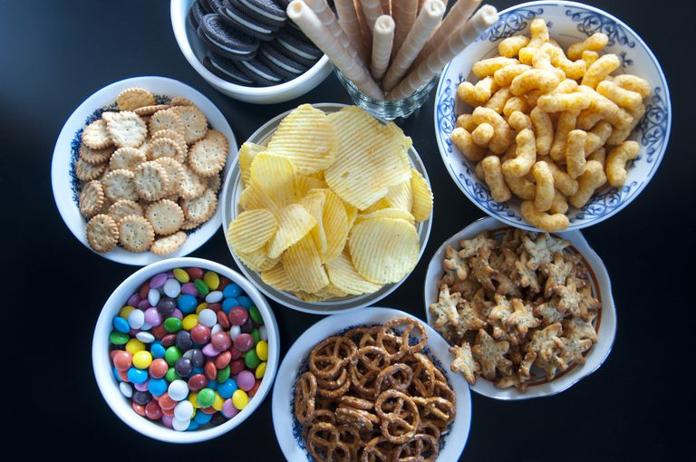 junk food in bowls