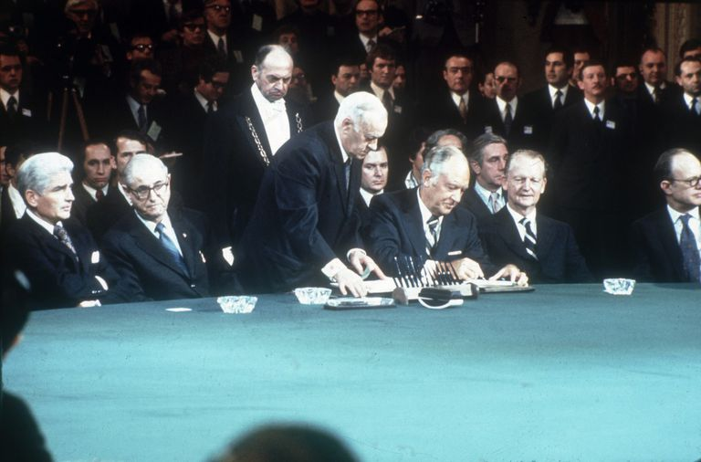 The signing of the Vietnam War peace treaty in 1973