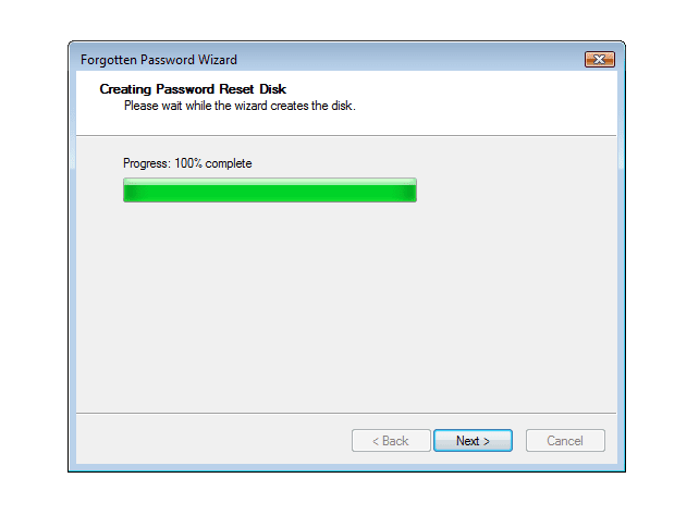 Screenshot showing the creation of a Windows Vista Password Reset Disk