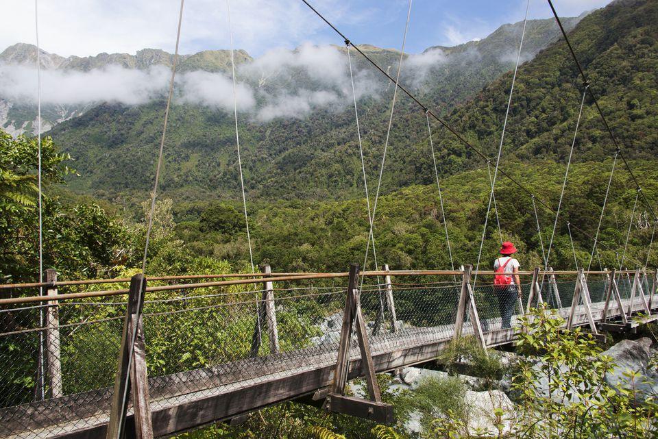 Fox Glacier historic swing bridge, West Coast, New Zealand