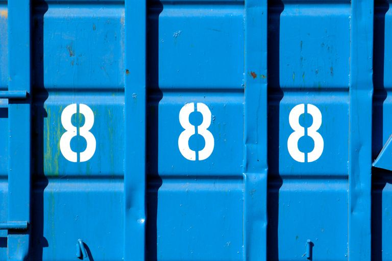NUMBER 888 ON A BLUE WALL