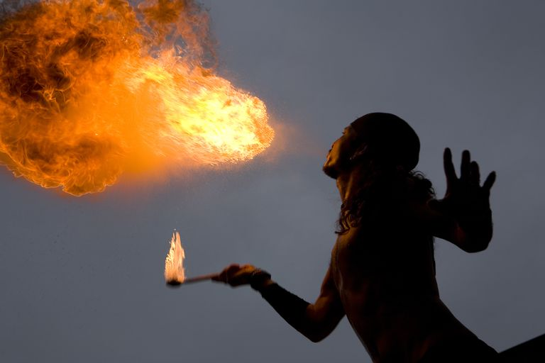 Firebreathing can be accomplished using a non-toxic, less-flammable fuel than the ones used by traditional firebreathers. Corn starch is a safer fuel for firebreathing.