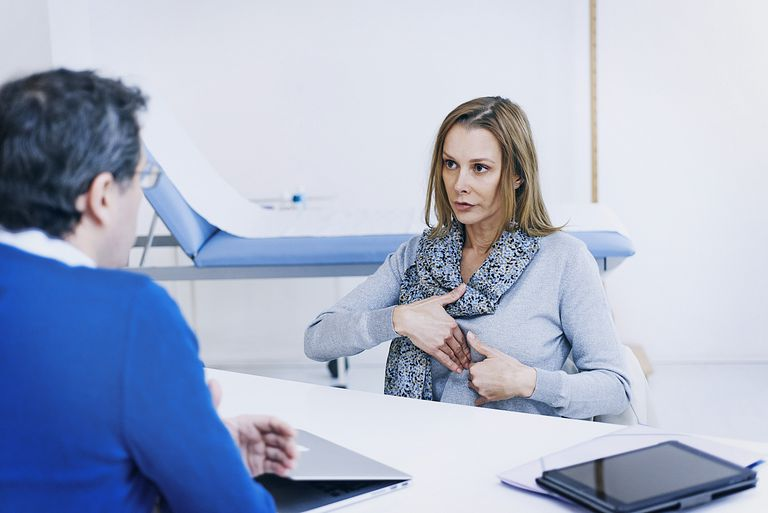 woman discussing chest pain with doctor