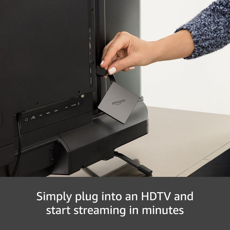 Figure 1-2: A picture of a woman connecting the Amazon Fire TV to the back of a television.
