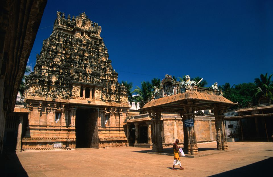 Inside the grounds of Sri Ranganathaswamy Temple (Srirangam), dedicated to the Hindu deity, Vishnu.