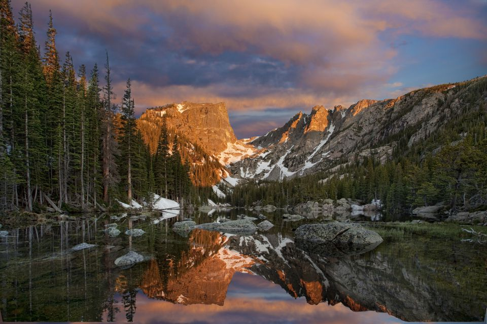 Rocky Mountain National Park sunrise at Dream Lake