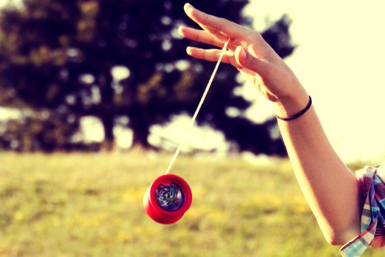 A yo-yo in the process of being spun
