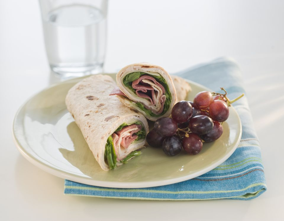 low fat ham and turkey wrap