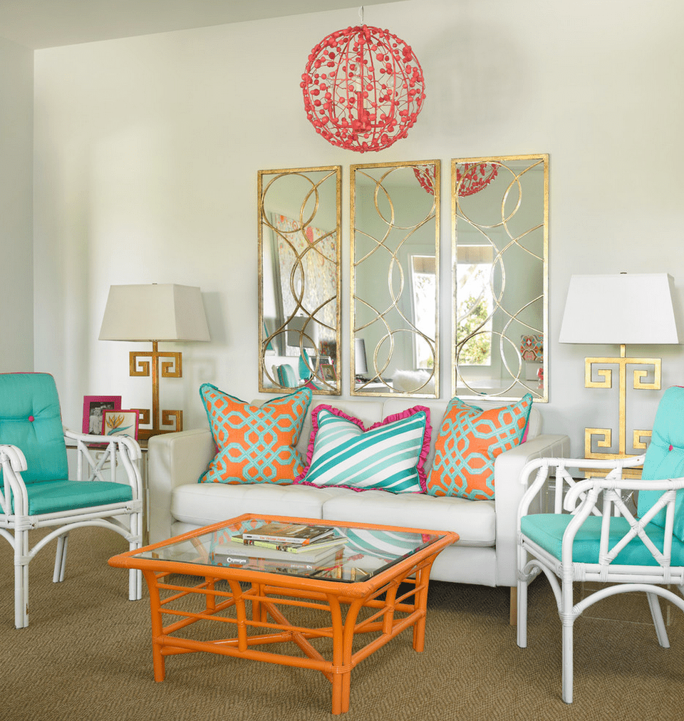 Living Room Done In Tropical Colors