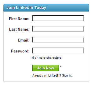 LinkedIn Login - Join LinkedIn Today Section of Page