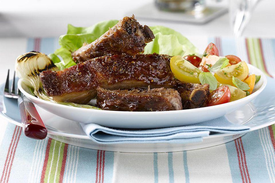 ribs and salad