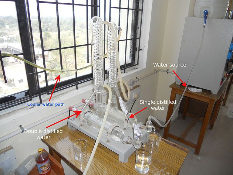 This is a typical equipment set up for double distillation of water.