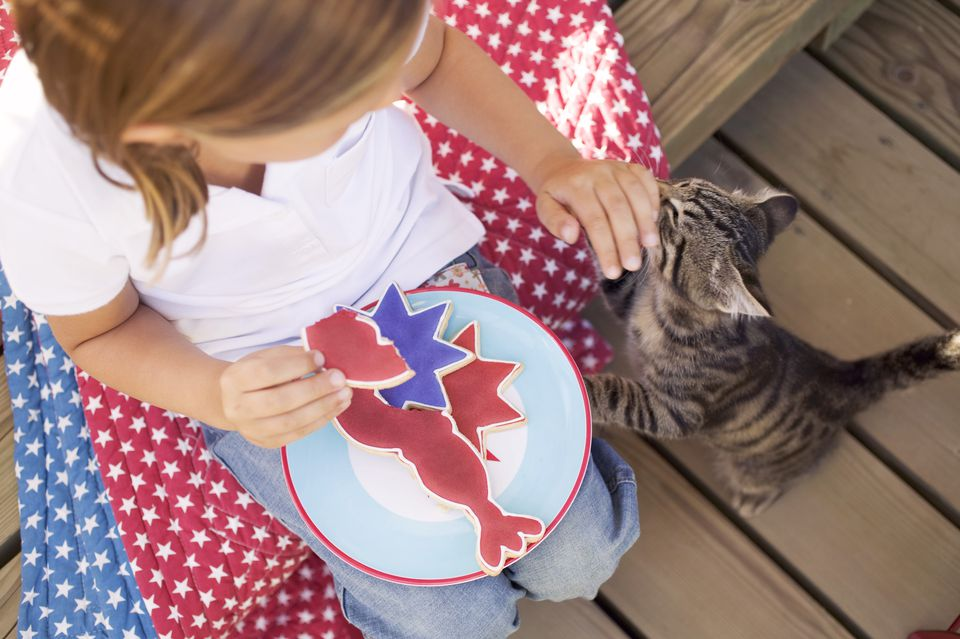 Small girl with partly-eaten cookie and cat (USA)