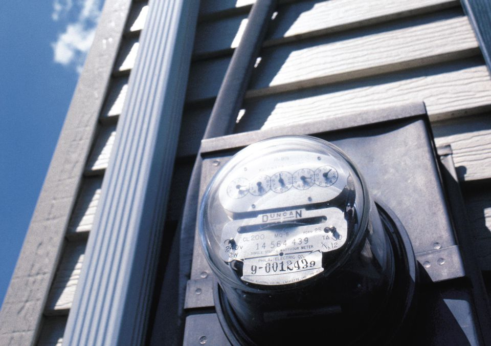 Electric meter on exterior of house