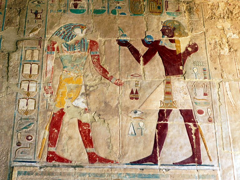 Hatshepsut as King, Offering Food to the God Horus