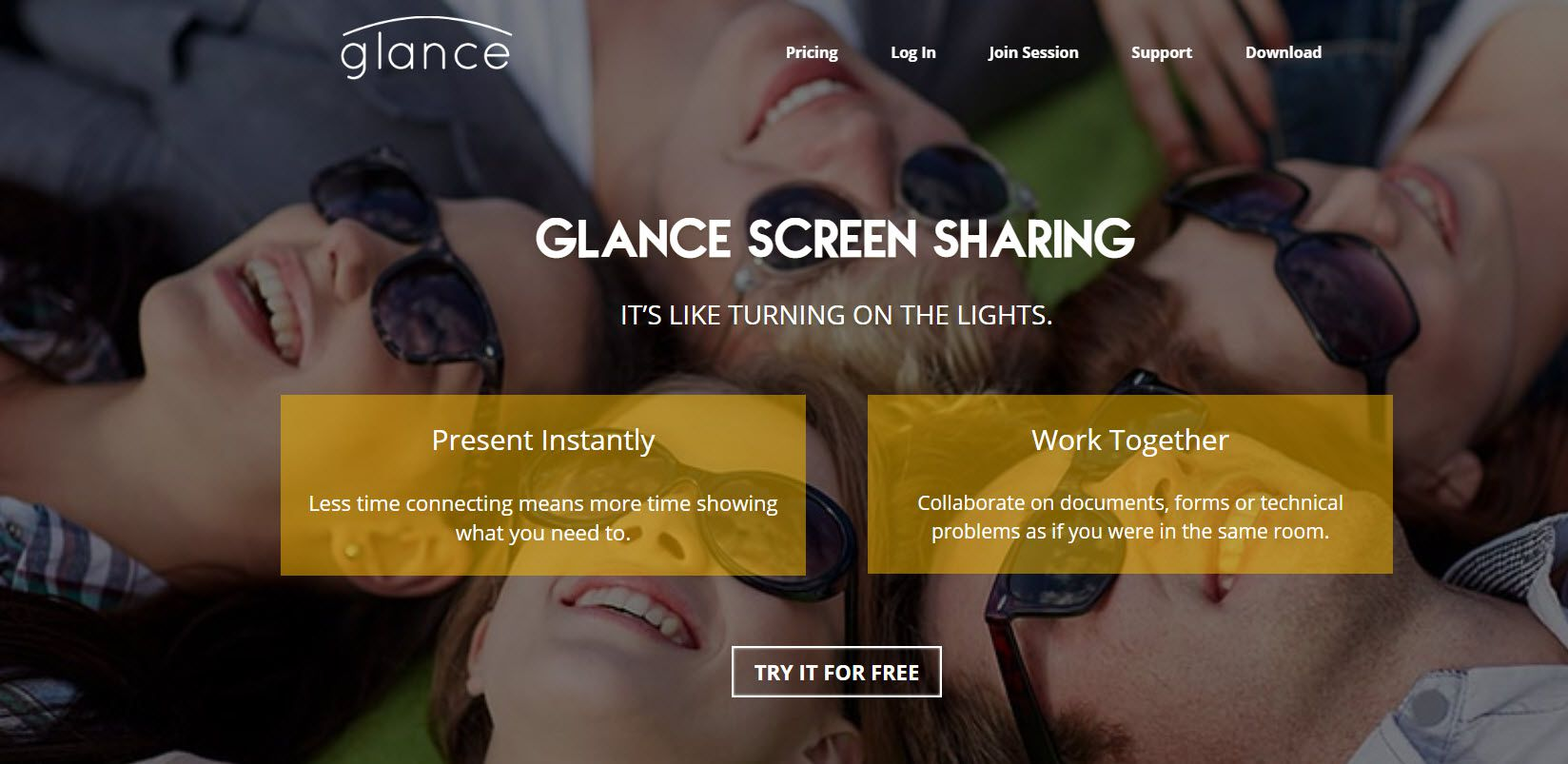 Screenshot of the Glance Website