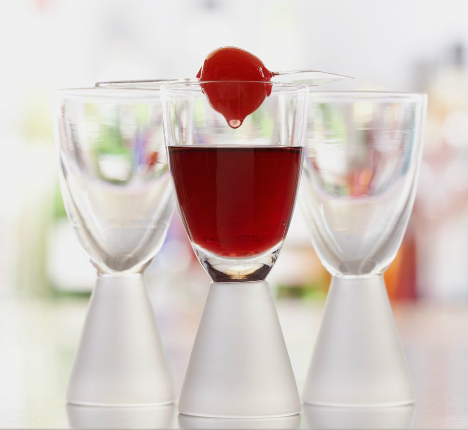 Cherry on top of shot glass