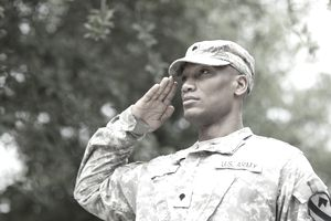 Black soldier saluting