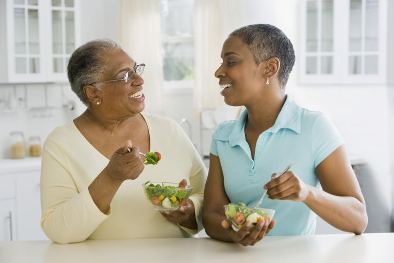 Two women eating salads