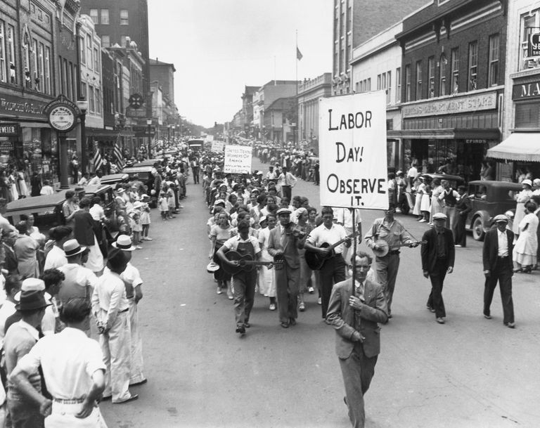 Black and white photo of early US Labor Day parade