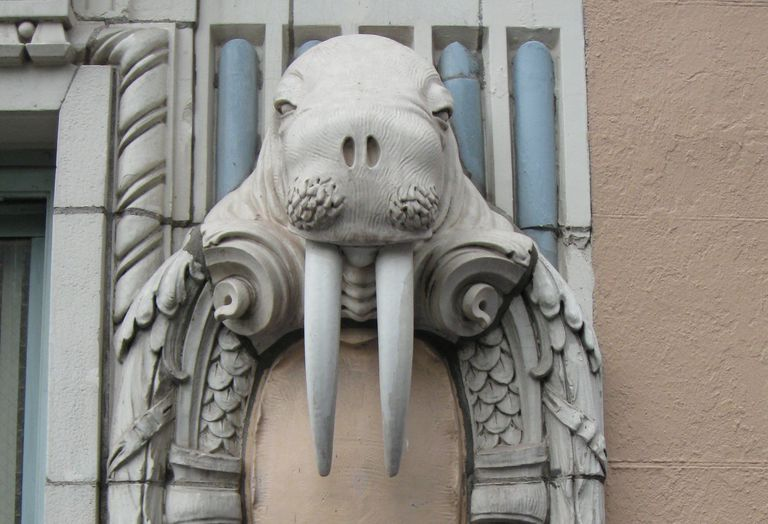 Terra-cotta walrus on the Arctic Club building, 1916, Seattle, Washington